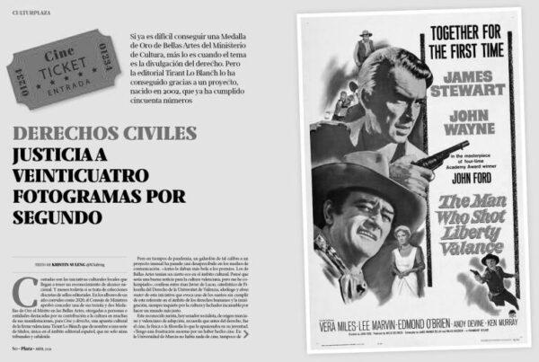 Captura de pantalla del artículo sobre Cine y Derecho Publicado en Valencia Plaza